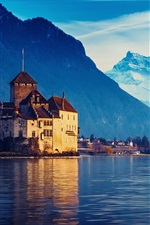 Preview iPhone wallpaper Switzerland, Lake Geneva, house, mountains, water, blue sky