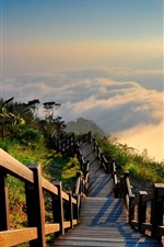 Preview iPhone wallpaper Taiwan landscape, mountain top, wood stairs, sun