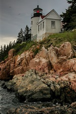 Preview iPhone wallpaper United States, Bass Harbor Lighthouse, rocks, sky, coast, sea