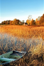 Preview iPhone wallpaper Autumn scenery, lake, water grass, boat, trees, house