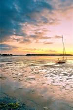 미리보기 iPhone 배경 화면 일몰 해변 풍경, 보트, 조명, 하늘,