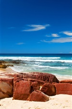 Preview iPhone wallpaper Beach nature, rocks, water, ocean, sea, waves, blue sky