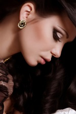 Preview iPhone wallpaper Beautiful black hair girl, pendant, earrings, jewelry