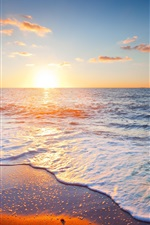 Preview iPhone wallpaper Beautiful sunset scenery, sea, sky, clouds, beach, waves