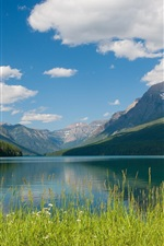 Preview iPhone wallpaper Bowman Lake, Glacier National Park, Montana, mountains, clouds