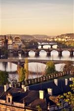 Preview iPhone wallpaper Czech Republic, Prague, city, bridge, river Vltava, sunrise, houses