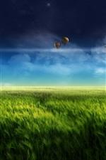 미리보기 iPhone 배경 화면 풍경, 디지털 디자인, 농장, 풍차, 녹색 꿈