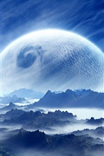 Dream landscape, planet, sky, mountains, clouds, blue, white