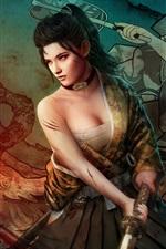 Preview iPhone wallpaper Fantasy Japanese girl, katana, blood