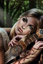 미리보기 iPhone 배경 화면 환상 소녀, 녹색 눈, 팔, 칼, 숲