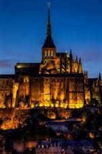 France, Mont Saint-Michel, castle, city evening, lights
