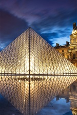 Preview iPhone wallpaper France, Paris, Louvre Museum, architecture, pyramid, night, water, lights