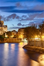 Preview iPhone wallpaper France, Paris, Notre Dame de Paris, river, city, night, lights