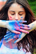 Preview iPhone wallpaper Girl colorful paint on hands