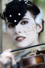Preview iPhone wallpaper Girl makeup, yellow eyes, music, violin
