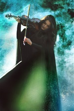 Preview iPhone wallpaper Girl play the violin, magical music, creative picture