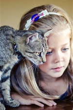 Good friends, girl with cat