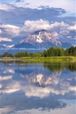 Grand Teton National Park, Mount Moran, Snake River, trees, clouds
