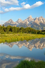 Preview iPhone wallpaper Grand Teton National Park, Wyoming, mountains, lake, reflection