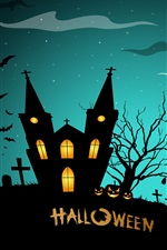 Preview iPhone wallpaper Halloween, creepy midnight, pumpkins, bats, house, full moon