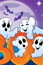 Preview iPhone wallpaper Halloween, funny ghosts, creepy house, full moon, vector graphics