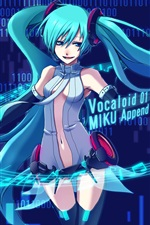 Hatsune Miku, music, blue hair anime girl, Miku Append