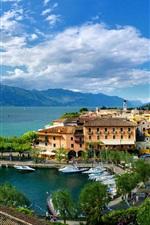 Preview iPhone wallpaper Italy, Torri del Benaco, Veneto, city, house, sea, boats, blue sky
