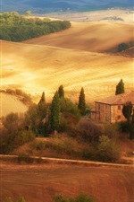 Preview iPhone wallpaper Italy, Tuscany, fields, autumn, house, trees, road
