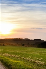 Italy nature scenery, fields, footpath, evening sunset