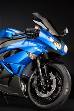 Preview iPhone wallpaper Kawasaki Ninja ZX-6R motorcycle blue