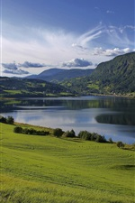 Preview iPhone wallpaper Lake water, fields, grass, greenery, hills, mountains, summer, clouds