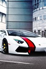 Preview iPhone wallpaper Lamborghini Aventador Lp700-4 supercar, red stripe