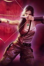 Preview iPhone wallpaper Lara Croft, Tomb Raider, beautiful girl, bow, arrow, fire