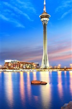 Macau, China, city night, tower, bridge, sea, lights