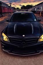 미리보기 iPhone 배경 화면 메르세데스 벤츠 C63 AMG 블랙 자동차