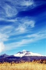 Preview iPhone wallpaper Mountains, fields, blue sky, white clouds