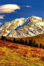 Preview iPhone wallpaper Nature autumn landscape, sky, clouds, mountains, yellow