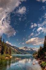 iPhone fondos de pantalla Paisaje de la naturaleza, río, árboles, montañas, nubes