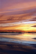 Preview iPhone wallpaper Nature landscape, sea, coast, sunset, red sky