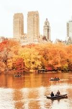 미리보기 iPhone 배경 화면 뉴욕시 맨하탄, 센트럴 파크, 가을, 보트, 건물