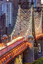 Preview iPhone wallpaper New York City, USA, Manhattan, Queensboro Bridge, buildings, lights