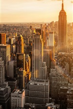 Preview iPhone wallpaper New York, USA, Manhattan, city morning, dawn, skyscrapers, buildings