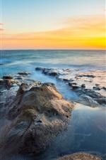 Preview iPhone wallpaper Oregon landscape, sunset, rocks, ocean, sea