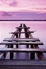 Pink sky, sunset, pier, bridge, river