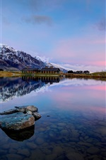 Preview iPhone wallpaper Queenstown, New Zealand, Lake Wakatipu, mountains, rocks, water reflection