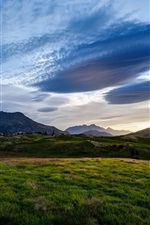 Preview iPhone wallpaper Queenstown, New Zealand, fields, valley, blue sky, dusk