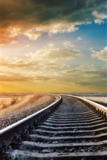 Preview iPhone wallpaper Railway, railroad rails, warm day, sky clouds, sunset