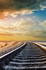 Railway, railroad rails, warm day, sky clouds, sunset