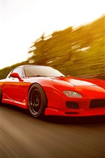 Preview iPhone wallpaper Red Mazda RX-7 FD supercar run in high speed