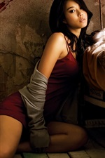 Preview iPhone wallpaper Red clothes asian girl in the bedroom